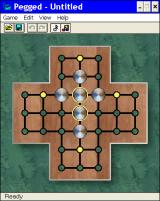 Brainiacs: 3-D Baffle and Hex Windows 3.x This is the game area. The pegs are displayed in their holes. This is the simplest arrangement