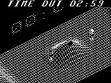 Vectorball ZX Spectrum The start of a game in 'The Hills'. Both players stand either side of a hill with the ball on top. The goals are at the top of the ramps at either side