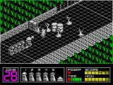 Highway Encounter ZX Spectrum Back in line. The oil drums have been moved forwards but not out of the convoy's path. The periscope like baddies can be shot & killed. The other baddies on screen cannot