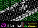 Highway Encounter ZX Spectrum Sneak attack! Some baddies have appeared behind the convoy and have attacked from the side. The graphic in the bottom left shows a Vorton/a player's life has been lost.