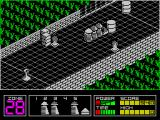Highway Encounter ZX Spectrum Whenever a life is lost the Vortons line up behind the small pyramid with the players Vorton at the rear.