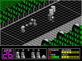 Highway Encounter ZX Spectrum The square towers block the way but can be destroyed. The star things then can travel the full width of the road and, of course they are deadly. Perhaps those oil drums can help?