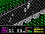 Highway Encounter ZX Spectrum There is an action key that causes the players Vorton to spin round on the spot firing the gun as it does so. Very useful against lots of baddies.