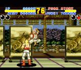 Fatal Fury 2 SNES Jubei Yamada jumps from the background, through a dressing screen, to the foreground. An example of the pseudo 3D gameplay.