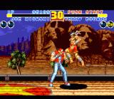 Fatal Fury 2 SNES Fighting on a train. There's some famous scenery in the background. Again, also notice how Joe Higashi moves from one plane to another