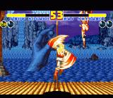 Fatal Fury 2 SNES Andy Bogard uses his special uppercut against Mai Shiranui