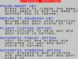 Red Arrows ZX Spectrum The game reviews talk a lot about the in-game documentation. This is the screen explaining the game's options for the novice pilot
