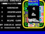 Project Future ZX Spectrum This is the game's menu. The default controller is the keyboard. The action keys cannot be redefined.