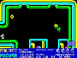 Project Future ZX Spectrum This is the first action screen. Bad guys spawn at three points and come at Farley from oblique angles. Staying in one spot and firing until a room is cleared is not an option