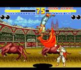 Fatal Fury 2 SNES Third boss Lawrence B. vs. Jubei in Barcelona. Note Gaudi's Sacrada Familia in the background