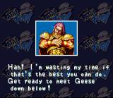 Fatal Fury 2 SNES Wolfgang Krauser with a reference to Geese Howard, the end boss of the first Fatal Fury game
