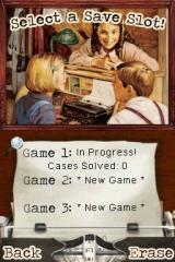 American Girl: Kit Mystery Challenge Nintendo DS Save game selection. Hmm, this reminds me of that typewriter saving part from Resident Evil.