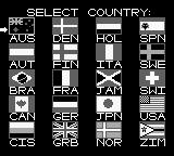 Winter Olympic Games: Lillehammer '94 Game Boy Select country