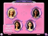 Barbie Beauty Styler Windows The Beauty Case opens to show the four available models. The icon in the lower left brings up the EXIT & Credits options. The icon in the lower right opens up Barbie's Beauty Book