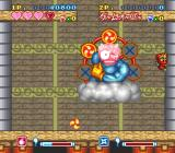 Super Ninja-kun SNES Wall-climbing while tossing bombs at the boss