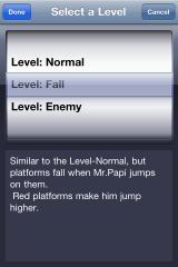 PapiJump iPhone Level select screen