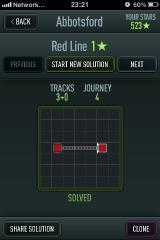Trainyard iPhone Level selection, and solution to first level.