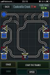 Trainyard iPhone Planning phase for a difficult level.