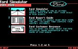 The Ford Simulator DOS Main Menu