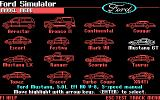 The Ford Simulator DOS Pick a car, any car...