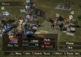 Dynasty Tactics 2 PlayStation 2 Battle screen. The numbers above the units indicate turn order, determined by morale.