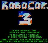 RoboCop 3 Game Gear Title Screen