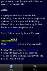 Simon the Sorcerer iPhone Help screen includes credit to scummVM