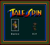 Disney's TaleSpin Game Gear Choose a character