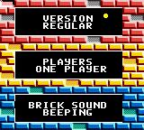 Super Breakout Game Boy Color Main Menu