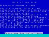 Ship of the Line ZX Spectrum The start of the game. The player takes on the lowest rank and must go and show Johnny Foreigner a thing or two