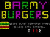 Barmy Burgers ZX Spectrum Once the game has loaded the title screen is displayed. Jovial characters run across bthe screen below the title a few times before the game actually starts