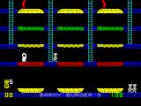Barmy Burgers ZX Spectrum The game commences. There is no high score table and no reminder of what are the action keys. The player is the white rabbit-like thing on the lower level