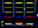 Barmy Burgers ZX Spectrum ... and by hiding up the ladder the player can avoid the rampant sausage