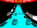 Roadwars ZX Spectrum An oncoming black ball has been destroyed, now can the shields be raised before player 1 hits the barrier?