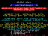 Space Walk ZX Spectrum This screen selects the controller options and explains the action keys