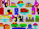 Caesar the Cat ZX Spectrum Caesar starts the game with 1000 points. points are gained for catching mice and are lost as food is eaten. Big points are lost if items are knocked from the shelves