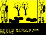 The Saga of Erik the Viking ZX Spectrum The game screen. Text is shown at the bottom and pictures are drawn in the central window. The drawing process is quite slow. First the black outlines are added bit by bit