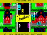 Trashman ZX Spectrum The game's title screen. The 'Trashman' title square flashes. This remains on screen as the game loads
