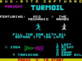 Turmoil ZX Spectrum The game's main menu screen. The player returns here when all lives are lost