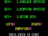 Pyjamarama ZX Spectrum This screen enables the player to choose their controller and to define the action keys