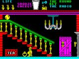 Pyjamarama ZX Spectrum Screen 1 of the game. There's a ball rolling down the stairs that must be avoided and a key to collect that allows progress onto the next screen