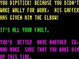 Pyjamarama ZX Spectrum The game is not too polite about failure