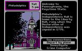 Where in the U.S.A. is Carmen Sandiego? DOS In the great state of Pennsylvania. The info box on the right shows some facts about the state that you are in.  (CGA with RGB monitor)