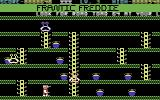 Frantic Freddie Commodore 64 Level three has a large ladder in the middle, making it a challenge to navigate.