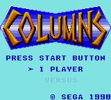 Columns Game Gear Title Screen
