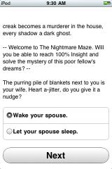 The Nightmare Maze iPhone Starting choice