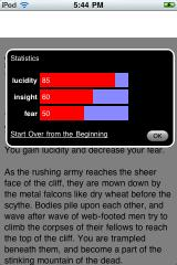 The Nightmare Maze iPhone In-game stats display
