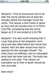 Popcorn, Soda ... Murder? iPhone Benjamin keeps track of most of the important details