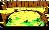 Space Quest: Chapter I - The Sarien Encounter DOS Rock bridge... A deadly spider droid is below.  (EGA/Tandy)