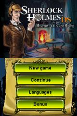 Sherlock Holmes DS and the Mystery of Osborne House Nintendo DS Menu
